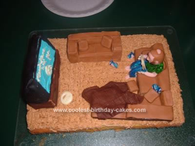 Homemade Man on Couch Cake