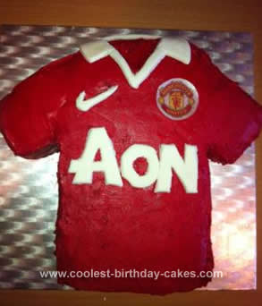 Homemade Man Utd Shirt Birthday Cake