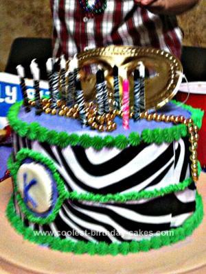 Homemade Mardi Gras Birthday Cake