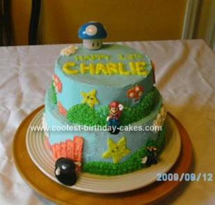 Homemade Mario Brother's Birthday Cake