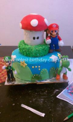 Homemade Mario Brothers Birthday Cake
