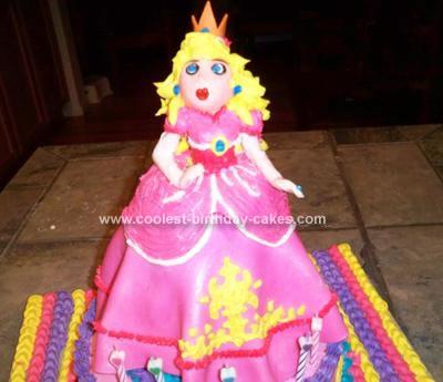 Homemade Mario Brothers Princess Peach Cake