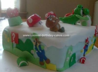 Homemade Mario Land Birthday Cake