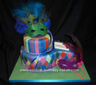 Homemade Masquerade Ball Cake