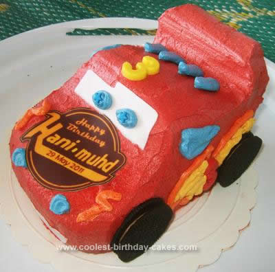 Homemade McQueen Impersonation Cake