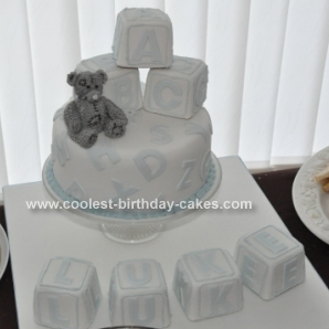"Homemade ""Me to You"" Building Block (Boy) Christening Cake"