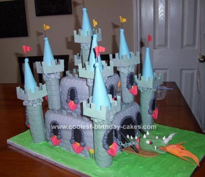 Homemade Medieval Castle and Dragon Cake Design