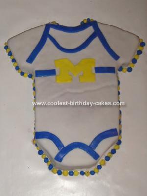 Homemade Michigan Wolverines Onesie Cake