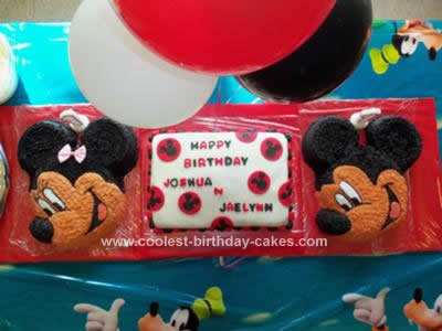 Homemade Mickey & Minnie Mouse Cakes