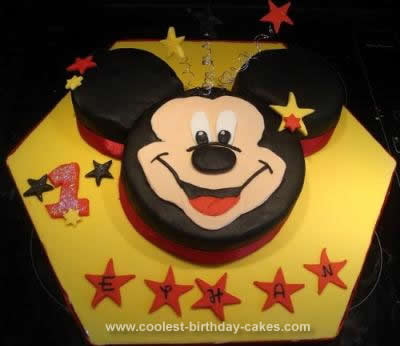 Awesome Cool Homemade Mickey Mouse 1St Birthday Cake Personalised Birthday Cards Veneteletsinfo
