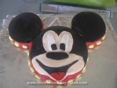 Homemade Mickey Mouse Birthday Cake