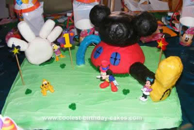 Excellent Cool Homemade Mickey Mouse Clubhouse 1St Birthday Cake Personalised Birthday Cards Veneteletsinfo