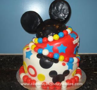 Homemade Mickey Mouse Topsy Turvy Cake