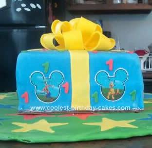 Homemade Mickey Present Birthday Cake