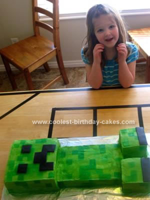 Homemade Minecraft Creeper Cake