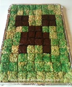 Homemade Minecraft Creeper Cake