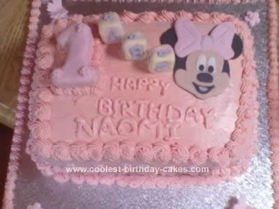 Remarkable Coolest Minnie Mouse 1St Bday Cake Personalised Birthday Cards Veneteletsinfo