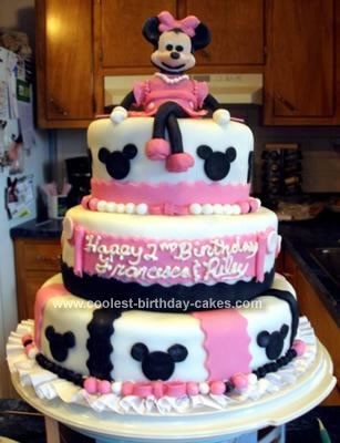 Cool Homemade 3 Tier Minnie Mouse 2nd Birthday Cake