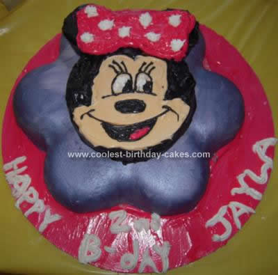 Homemade Minnie Mouse Birthday Cake
