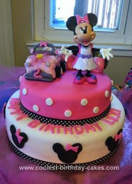 Homemade Minnie Mouse Birthday Cake