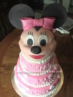 Homemade Minnie Mouse Four Tier 3-D Cake