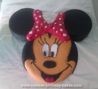 Homemade Minnie Mouse Face Cake