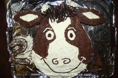 Homemade Miss Moo Cow Birthday Cake