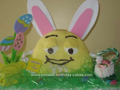 Homemade M&M Easter Bunny Cake Idea