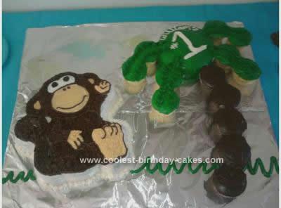 Homemade Monkey 1st Birthday Cake Idea