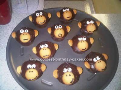 Homemade Monkey Birthday Cupcakes