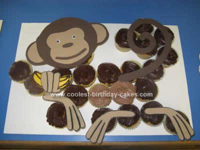 Homemade Monkey Cupcake Birthday Cake