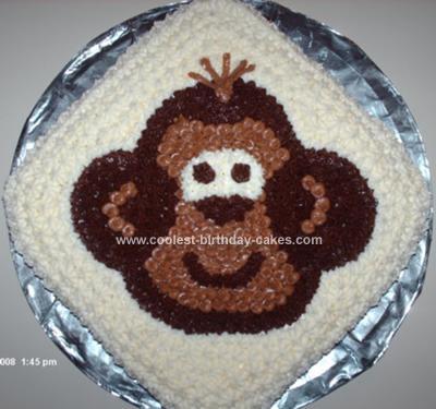 Homemade Monkey Face Birthday Cake