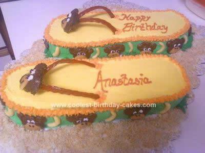 Homemade Monkey Flip Flop Cake