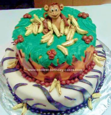 Homemade Monkey Going Bananas Cake