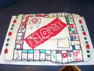 Homemade Monopoly Birthday Cake Design