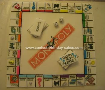 Homemade Monopoly Board Birthday Cake