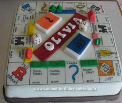 Homemade Monopoly Board Cake