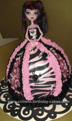 Homemade Monster High Doll Cake