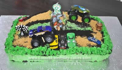 Homemade  Monster Jam Birthday Cake
