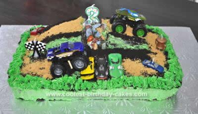 Homemade  Monster Jam Birthday Cake