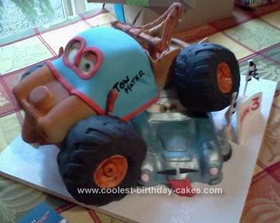 Homemade Monster Truck Mater and Finn McMissle Birthday Cake