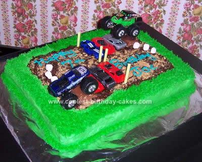 Homemade Monster Trucks Cake Idea