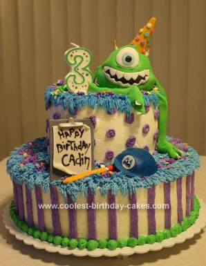 Homemade Monsters Inc. Birthday Cake