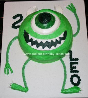 Homemade Monsters Inc. Mike Waszowski Birthday Cake