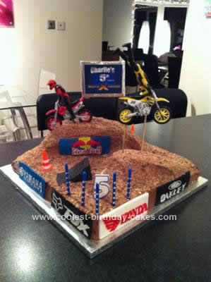 Homemade Motocross Stunt Bike Cake