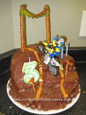 Homemade  Motorcross Dirt Bike Track Cake