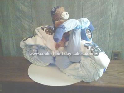 Homemade Motorcycle with Working Headlight Diaper Cake