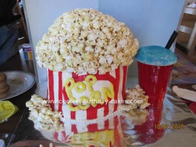 Homemade Movie Themed Popcorn Cake