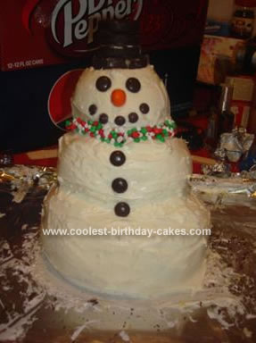 Homemade Mr. Snowman Cake