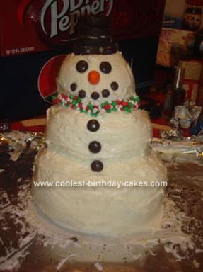 Homemade Mr. Snowman Cake